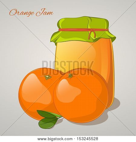 Orange jam in a jar and fresh orange isolated on grey background. Simple cartoon style. Vector illustration.
