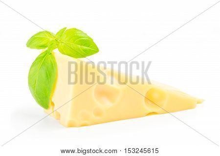 Cheese and basil leaves isolated on white background cutout.