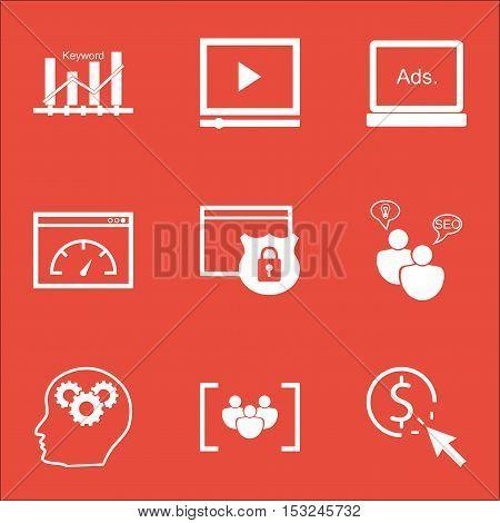 Set Of Marketing Icons On Digital Media, Video Player And Seo Brainstorm Topics. Editable Vector Ill