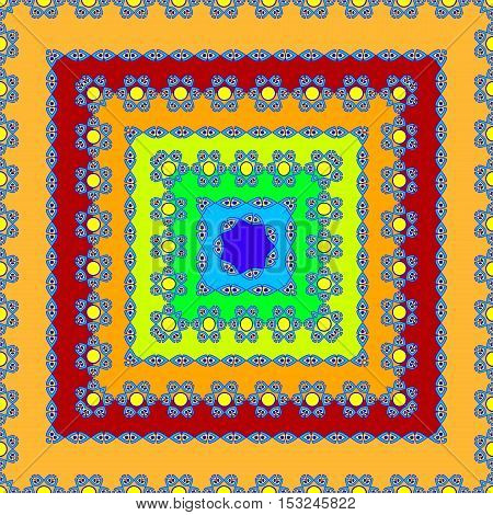 vector illustration of a bright pattern of squares converging to the center with blue designs on a path and a different color fill