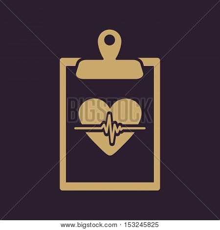 The medical report icon. Medical and ambulance, cardiogram, healthcare symbol. Flat Vector illustration