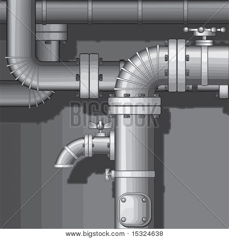 Vector Industrial Pipe Background with faucet(no gradients)