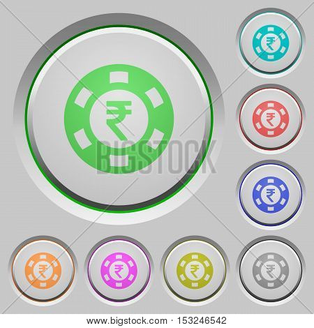 Indian Rupee casino chip color icons on sunk push buttons