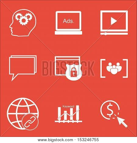Set Of Advertising Icons On Ppc, Digital Media And Questionnaire Topics. Editable Vector Illustratio