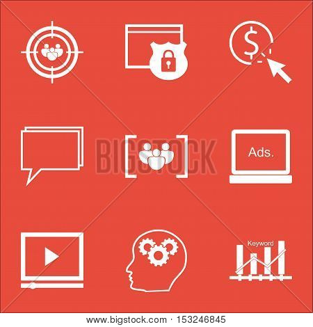Set Of Seo Icons On Security, Video Player And Focus Group Topics. Editable Vector Illustration. Inc