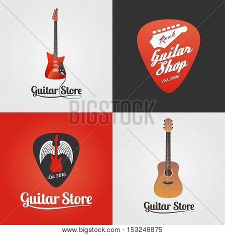 Guitar store music shop collection of vector icon symbol emblem logo sign. Template graphic design elements for music festival guitar boutique