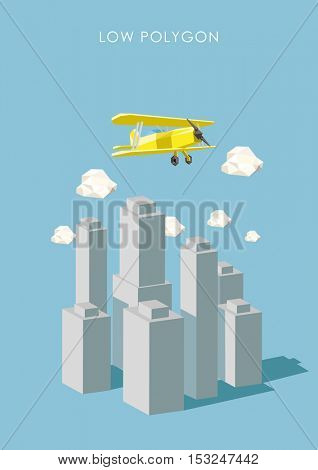 Airplane and polygonal city. Low poly vector illustration. Traveling and adventure concept.