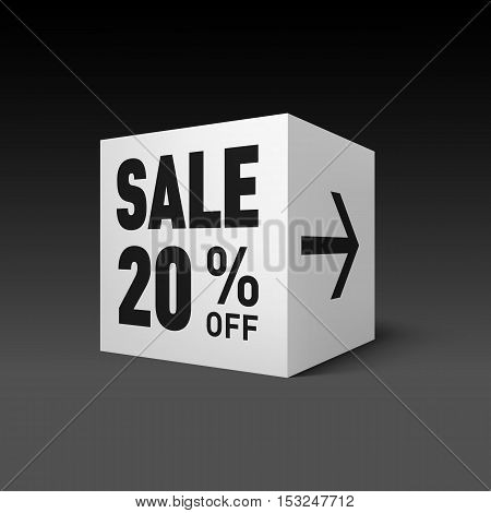 Cube Banner Template for Holiday Sale Event. Twenty Percent off Discount