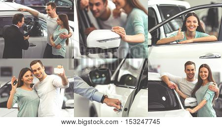 Collage of beautiful young couple choosing a car to buy