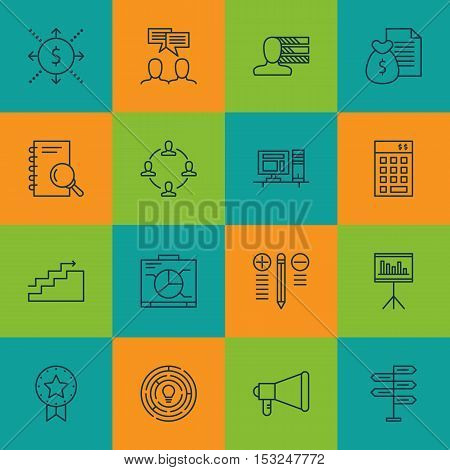 Set Of Project Management Icons On Innovation, Money And Announcement Topics. Editable Vector Illust