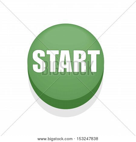 Green Round Shiny Start Button. Isolated. Simple.