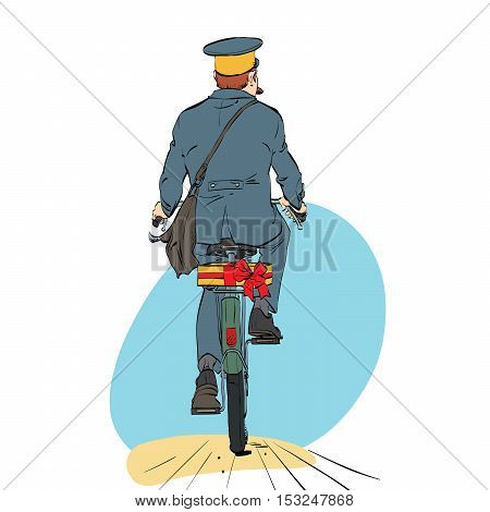 Retro postman on bike rides with sending gift. A professional employee. Mail and message delivery. Holidays and events