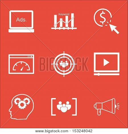 Set Of Advertising Icons On Video Player, Loading Speed And Ppc Topics. Editable Vector Illustration