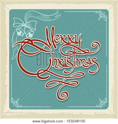 Retro Merry Christmas Card with hand-writting wording and grunge effects. Vector illustration