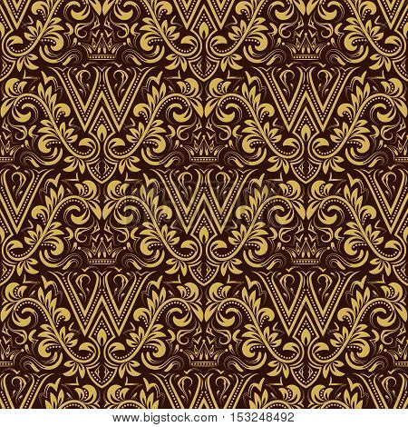 Damask seamless pattern repeating background. Gold brown floral ornament with W letter and crown in baroque style. Antique golden repeatable wallpaper.