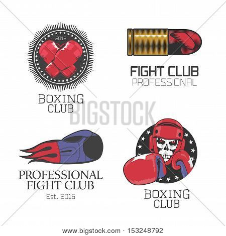 Boxing box club set of vector icons logo symbol emblem signs. Nonstandard graphic design elements with boxing gloves for club school championship