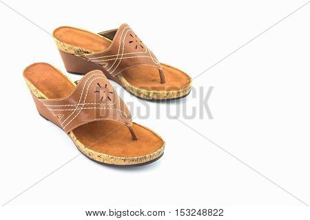 Brown womans shoes on the white background.
