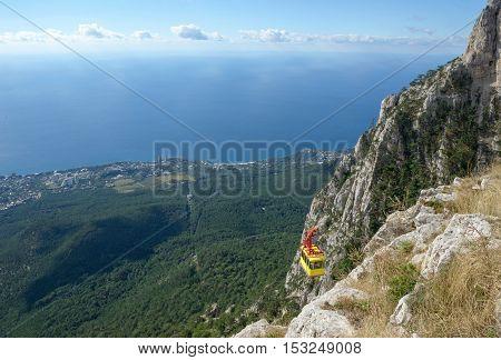 Panoramic View From Ai-petri Mountain Towards Alupka Coastline, Crimea, Russia.