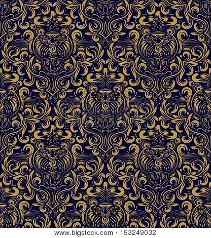 Damask seamless pattern repeating background. Gold blue floral ornament in baroque style. Antique golden repeatable wallpaper.