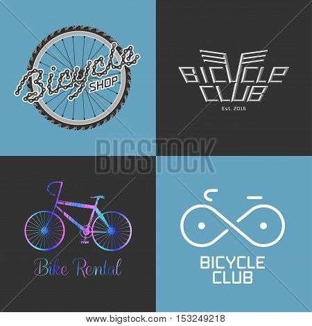 Bicycle shop rent a bike bicycle repair set collection of vector logo icon symbol emblem sign. Design element with bike parts for business related to bicycle