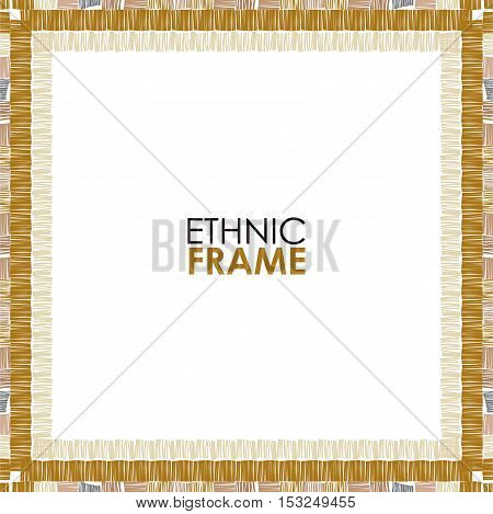 Abstract vector ethnic square border. Tribal brown striped frame on white background.