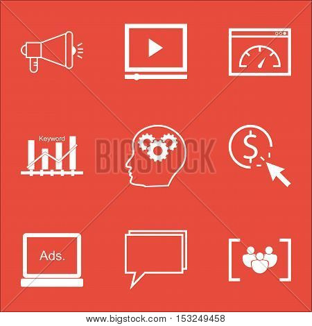 Set Of Marketing Icons On Video Player, Loading Speed And Brain Process Topics. Editable Vector Illu