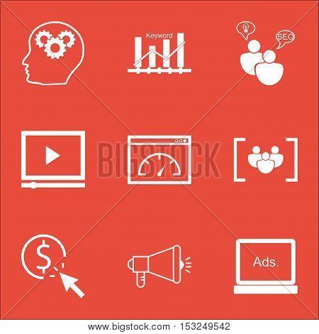 Set Of Seo Icons On Video Player, Brain Process And Seo Brainstorm Topics. Editable Vector Illustrat