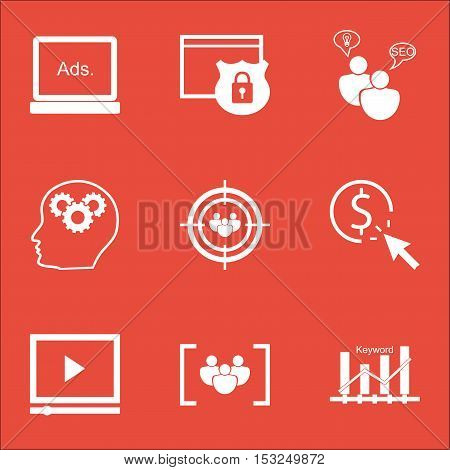 Set Of Advertising Icons On Seo Brainstorm, Questionnaire And Video Player Topics. Editable Vector I