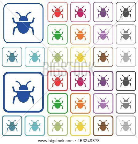 Bug color icons in flat rounded square frames. Thin and thick versions included.