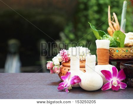 Natural Spa Ingredients herbal compress ball and herbal Ingredients for alternative medicine and relaxation Thai Spa theme with silk fabric , soft and select focus
