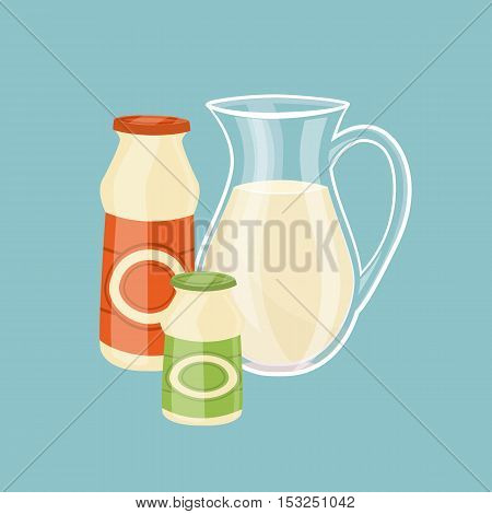 Glass jug with milk and other dairy products isolated on blue background, vector illustration. Nutritious and healthy milk products. Natural and healthy food. Organic farmers products. Dairy icon