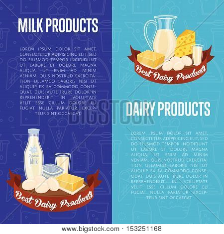 Dairy products vertical flyers with different milk composition isolated on blue background, vector illustrations with space for text. Best dairy products concept. Organic farmers food.