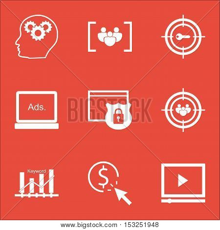 Set Of Seo Icons On Focus Group, Video Player And Digital Media Topics. Editable Vector Illustration