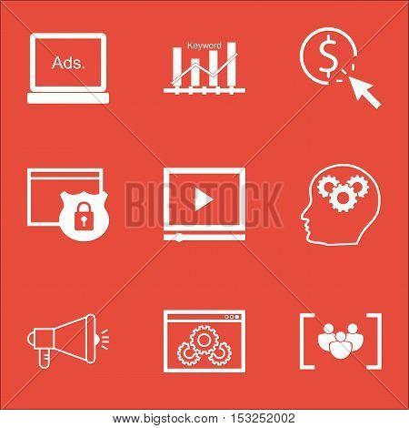 Set Of Marketing Icons On Website Performance, Brain Process And Digital Media Topics. Editable Vect