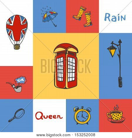 Great Britain checkered concept in national colors. Telephone box, lantern, tea, umbrella, gumboots, magnifier, smoking tube. England vector symbols. Travel to England concept. Discover London.