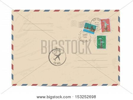 Blank postal envelope with postage stamps and postmarks on white background vector illustration. Stamps set with world famous architectural composition. Postal services. Envelope delivery.