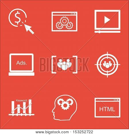 Set Of Seo Icons On Video Player, Focus Group And Coding Topics. Editable Vector Illustration. Inclu