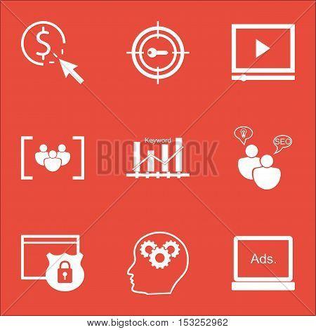 Set Of Marketing Icons On Video Player, Ppc And Keyword Marketing Topics. Editable Vector Illustrati