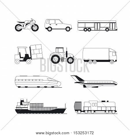 Transport line icons. Outline transport black vector icons on white background, car ship and plane
