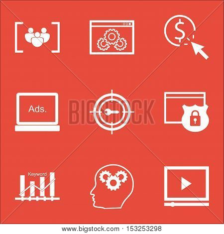 Set Of Advertising Icons On Security, Website Performance And Ppc Topics. Editable Vector Illustrati