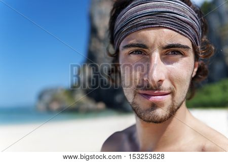 Male Man Beach Free Holiday Summer Relaxation Concept
