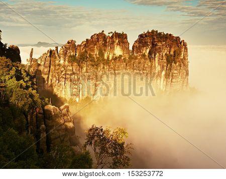 Misty Valley, Sharp Rocks Gentle Cut Creamy Fog To Strips. Long Gulch