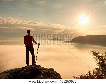 Tourist With Hiking Poles Stand On Cliff At Heather Bush On Peak Of Rock