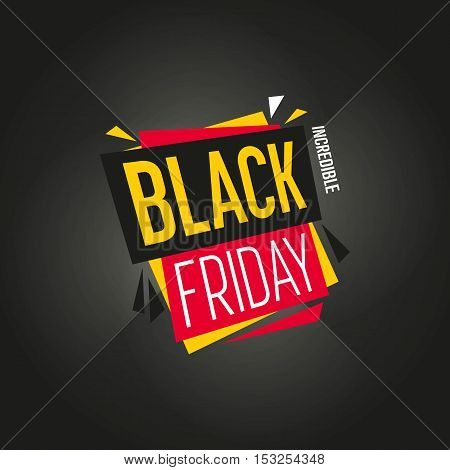 Black Friday sale black sticker vector isolated. Discount or special offer price sign on Black Friday. Sale vector banner. Promo offer. Sale sticker. Discount sticker. Special offer sale sticker in flat style. Discount tag. Special offer banner. Sale tag.