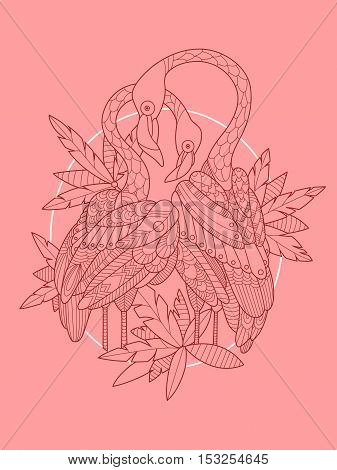 Flamingo bird tattoo design vector illustration. Tattoo stencil. Zentangle style. Black and white lines. Lace pattern