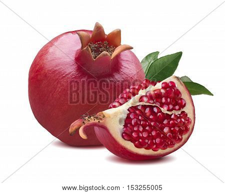 Whole pomegranate quarter piece composition isolated on white background
