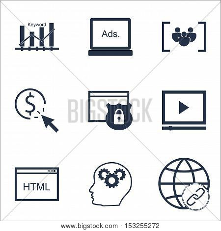 Set Of Marketing Icons On Digital Media, Ppc And Security Topics. Editable Vector Illustration. Incl