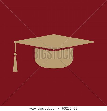 The graduation cap icon. Education symbol. Flat Vector illustration
