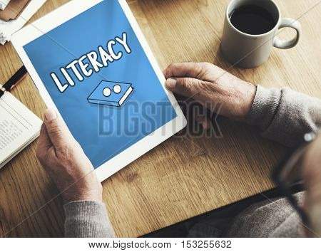 Literacy book and glasses icon on tablet screen
