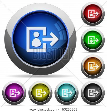 User logout icons in round glossy buttons with steel frames
